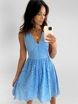 Michelle Keegan Michelle Keegan Embroidered Lace Skater Dress - Blue Picture