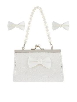 Monsoon Monsoon Girls Lara Lace Bow Mini Bag And Clips Set - Ivory Picture