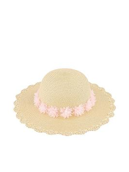 Monsoon Monsoon Girls Macaroon Flower Floppy Hat - Natural Picture