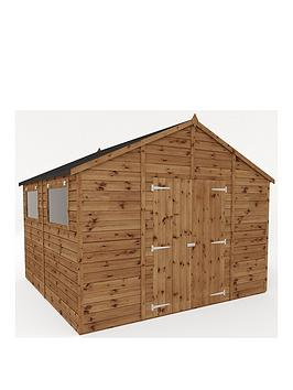 mercia-10-xnbsp10-ftnbsppremium-pressure-treated-shiplap-workshop-shed-with-double-doors-and-installation