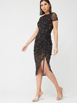 Missguided Missguided Missguided Ditsy Floral Mesh Ruched Midi Dress -  ... Picture