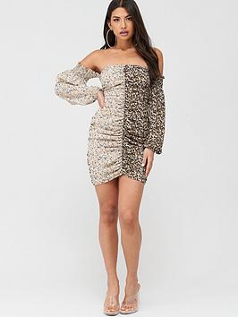 Missguided Missguided Missguided Ditsy Floral Mixed Print Ruched Mini  ... Picture