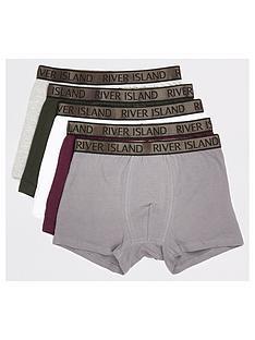 river-island-khaki-ri-metallic-waistband-trunks-5-pack