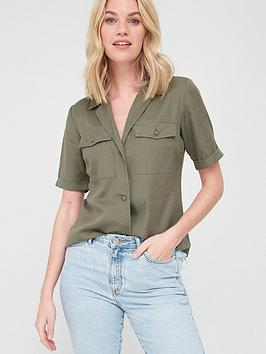 V by Very V By Very Tencel Short Sleeve Utility Shirt - Khaki Picture
