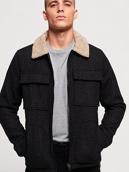 Superdry Superdry Mason Wool Blend Trucker Jacket - Black Picture