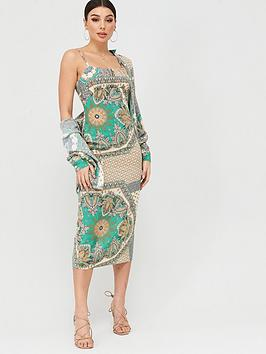 Missguided Missguided Scarf Print Ruched Cup Midi Dress - Green Picture