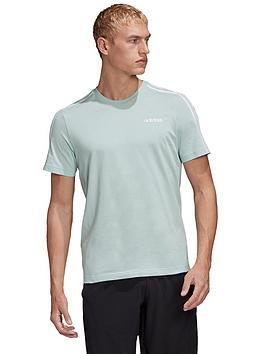 Adidas   Essential 3-Stripe T-Shirt - Green