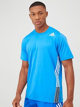 Adidas   Freelift 3-Stripe T-Shirt - Blue