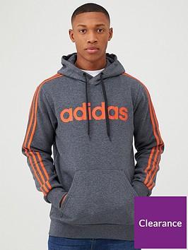 adidas-essential-3-stripe-pullover-hoodie-greyorange