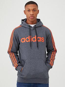 Adidas   Essential 3 Stripe Pullover Hoodie - Grey/Orange