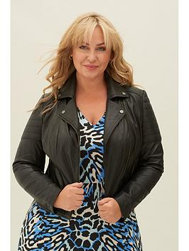 V by Very V By Very Eco-Friendly Leather Biker Jacket - Black Picture