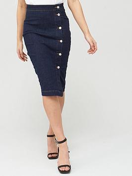 V by Very V By Very Midi Denim Skirt - Indigo Picture