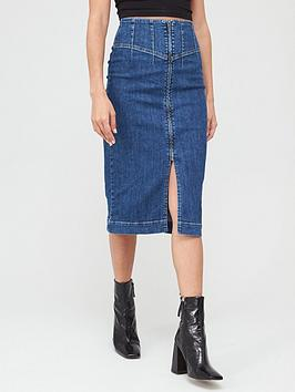 V by Very V By Very Corset Fit Denim Midi Skirt - Mid Wash Picture