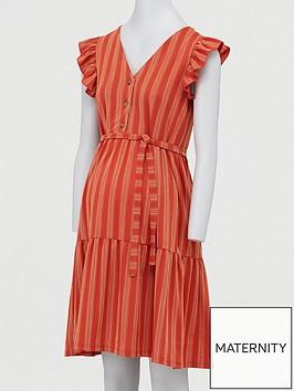 mama-licious-maternity-cap-sleeved-stripe-dress-orangenbsp