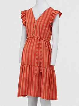 Mama-licious Mama-Licious Maternity Cap Sleeved Stripe Dress - Orange Picture