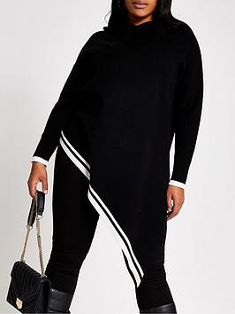 RI Plus Ri Plus White Tipped Asymmetric Hem Jumper - Black Picture