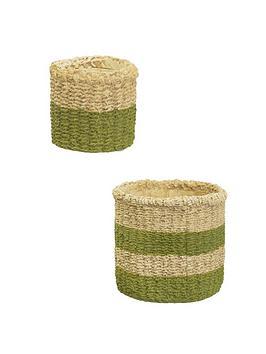 Sass & Belle Sass & Belle Green Stripe & Mini Green Dip Basket Planter Picture