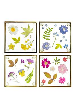 Sass & Belle Sass & Belle Pressed Flowers Glass Coasters - Set Of 4 Picture