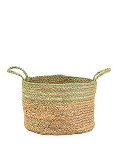sass-belle-green-stripe-jute-storage-basket