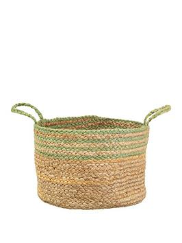 Sass & Belle Sass & Belle Green Stripe Jute Storage Basket Picture