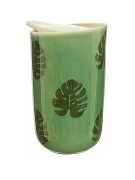 Sass & Belle Sass & Belle Cheese Plant Leaf Ceramic Travel Mug Picture