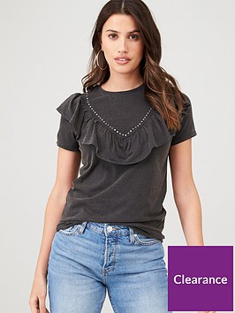 v-by-very-washed-frill-detail-tee-grey