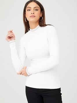 v-by-very-piping-detail-double-layer-rip-long-sleeve-top-ivory