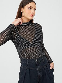 V by Very V By Very Metallic Spot Mesh High Neck Top - Black Picture