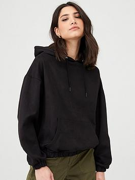 V by Very V By Very Faux Suede Hoodie - Black Picture