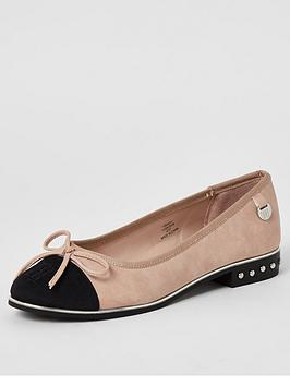 River Island River Island Bow Front Ballet Shoes - Pink Picture