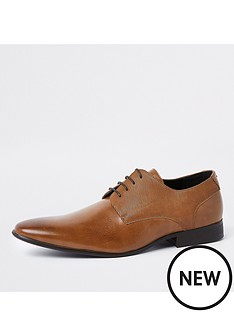 river-island-brown-line-embossed-lace-up-derby-shoes