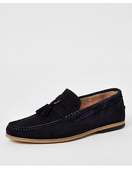 River Island River Island Suede D-Ring Tassel Loafers - Navy Picture