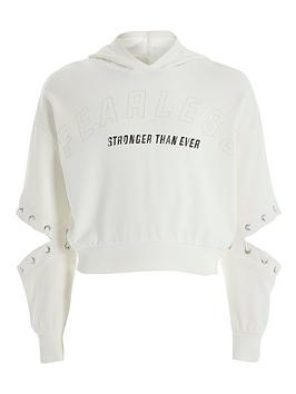 River Island River Island Girls Fearless Cut Out Sweat-White Picture