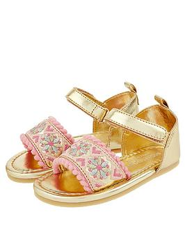 Monsoon Monsoon Baby Girls Emily Embroidered Walker Sandal - Gold Picture
