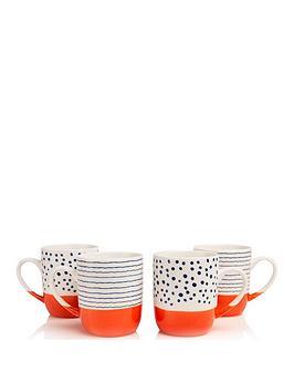 Sabichi Sabichi Tangerine Bone China Set Of 4 Mugs Picture
