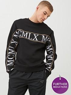 river-island-mcmlx-black-tape-slim-fit-sweatshirt