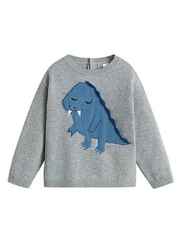 Mango Mango Baby Boys Embroidered Dino Knitted Jumper - Grey Picture