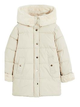 Mango Mango Girls Faux Fur Hooded Padded Coat - Ecru Picture