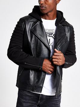 river-island-hybrid-pu-biker-jacket-black