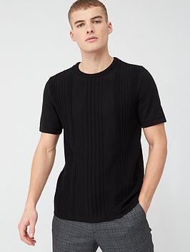 River Island River Island Slim Fit Pointelle Knit T-Shirt - Black Picture