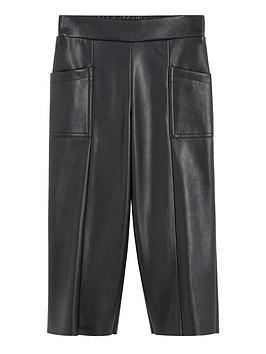 Mango Mango Girls Faux Leather Culotte Trousers - Black Picture