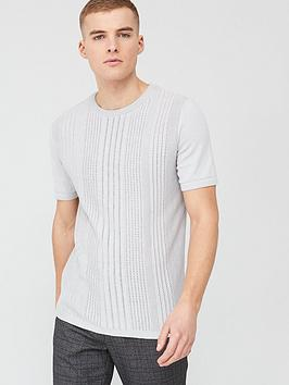 River Island River Island Slim Fit Pointelle Knitted T-Shirt - Grey Picture