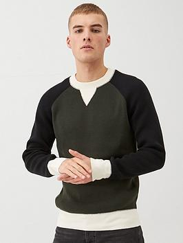 River Island River Island Raglan Colourblocked Knitted Jumper - Green Picture
