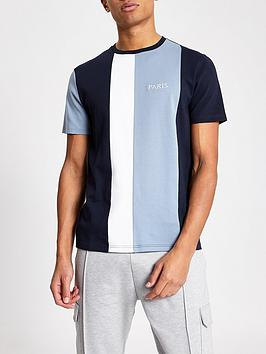 river-island-paris-logo-colour-block-t-shirt-navy