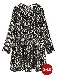 mango-girls-daisy-print-swing-dress-black