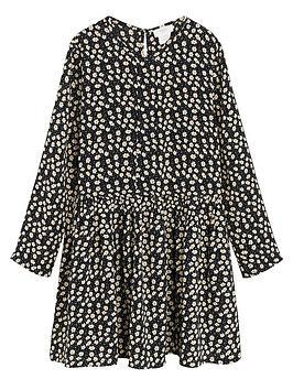 Mango Mango Girls Daisy Print Swing Dress - Black Picture