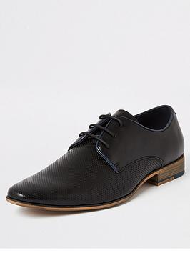 River Island River Island Black Textured Lace-Up Derby Shoes Picture