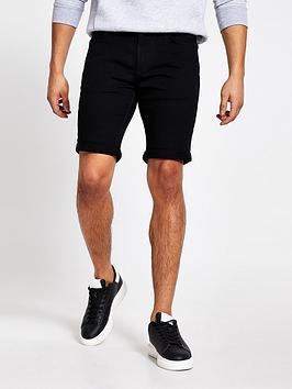 River Island River Island Denim Shorts - Solid Black Picture