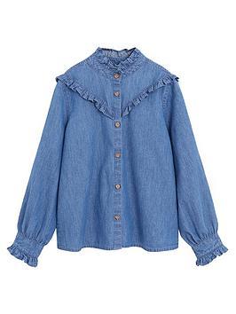 Mango Mango Girls Ruffle Denim Shirt - Medium Blue Picture