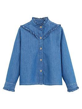 Mango   Baby Girls Ruffle Denim Shirt - Medium Blue